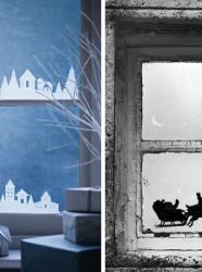 Vitres  idées de bricolage décorations de Noël Décorer les fenêtres