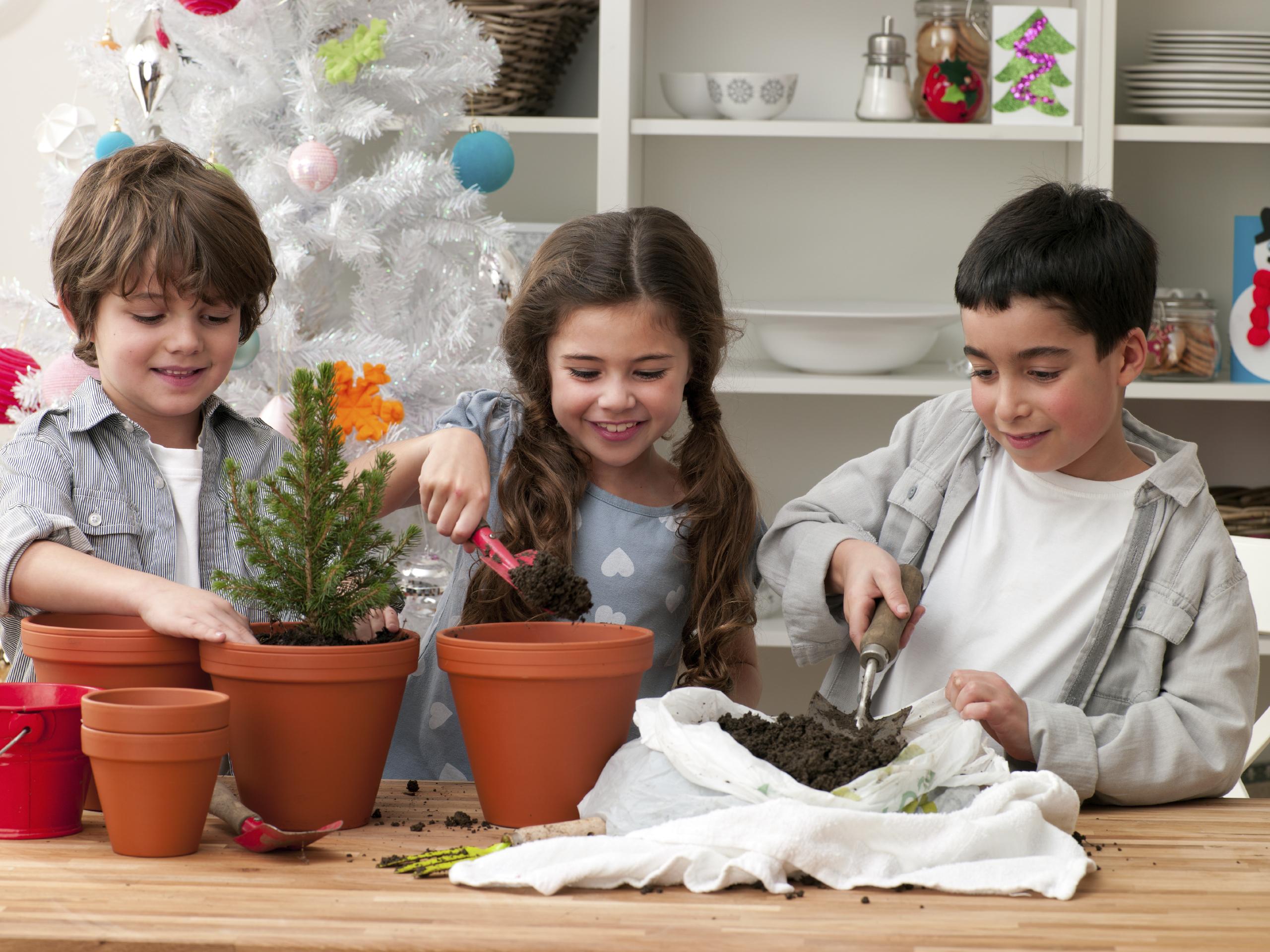 Les enfants jardinent.